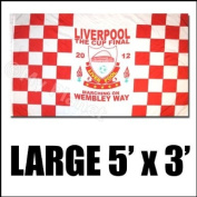LIVERPOOL FA CUP FINAL 2012 RED & WHITE LARGE QUALITY WEMBLEY WAY FLAG 1.5m x 0.9m