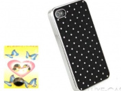iphone 4 4S Luxury Designer case/Diamante Bling Diamond Back cover-Black+Black Diamane Home Button