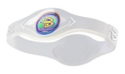 Power Balance Sports Bracelet Hologram Wristband in Clear With White Lettering