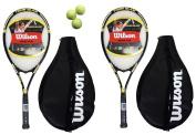 2 x Wilson Tour Tennis Rackets L3 + Covers With Strap + 3 Tennis Balls
