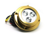 Amarine-made LED Underwater Boat Surface Mount Light 3*3w Blue Bronze Housing Waterproof Ip 68
