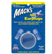 Macks Soft Flanged AquaBlock Earplugs, Clear, 1-Pair Blister Pack