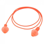 Orange Silicone Round Shaped Wired Earplugs for Swimming