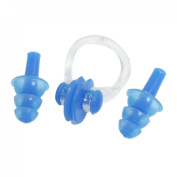Blue Nose Clip Silicone Earplugs Set for Swim Swimming