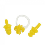 Yellow Nose Clip Silicone Earplugs Set for Swim Swimming