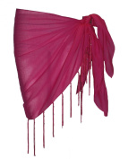 Plain Half Fuschia Cotton Sarong With Tassels & Beads