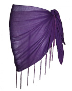 Plain Half Purple Cotton Sarong With Tassels & Beads
