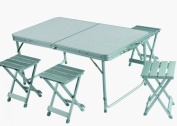 Grand Canyon Alu Foldable Portable Picnic Table with 4 Chairs - Silver, 120 x 67 x 64 cm