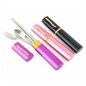 Protable Travel 3in1 Stainless Steel Chopsticks Fork Spoon Dinnerware Set  [4429|01|01]