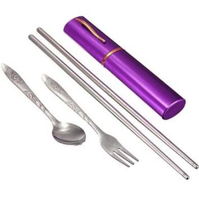 Portable 3-in-1 Chopsticks Spoon Fork Cutlery Set