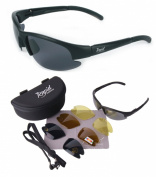 Nimbus (Black) POLARISED SPORT SUNGLASSES with Interchangeable Lenses for Cycling, Running, Equestrian, Sailing etc. RC Modelglasses, UVA / UVB (UV400) Protection. For Men & Women