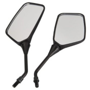 Pair Motorcycle Motorbike Side Rear View Mirror 10mm Black