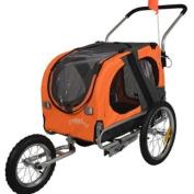 Doggyhut Medium Pet Dog Bicycle Trailer & Jogging Stroller in Orange Inside Dimensions 68x43.4x51cm