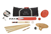 Multi Sports Set - 13cm 1 sports set. This set contains equipment for 5 different outdoor sports including football, cricket bat and ball, rounders bat and ball, paddle tennis bats and ball, and a frisbee!