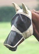 Shires Fine Mesh Fly Mask hood Veil, with Full Face, Ears & Nose Extension
