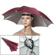 41cm Long Handsfree Burgundy Umbrella Hat w Neck Strip