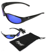 Float POLARISED FLOATING SPORT SUNGLASSES, Blue Lenses - for Fishing, Swimming, Rowing, Sailing, Jet Skiing, Water Skiing, Windsurfing. UVA / UVB (UV400) Protection. For Men and Women. Black
