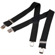 "MENS PLAIN BLACK CLIP ON BRACES 50MM 2"" WIDE SUSPENDERS FOR WORK SPORT FISHING"