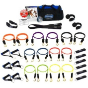 Bodylastics (Genuine) 31 pcs *MEGA RESISTANCE (404 lbs.) Stackable Resistance Bands System with 14 Failsafe anti-snap exercise tubes, Heavy Duty components & Workouts DVD