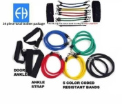 FH Gym In a Bag Total Trainer | Resistance Band Set 24 Piece | Leg Kinetic Bands| Home Workout Equipment | Indoor Multi Gym