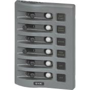 Blue Sea 4376 WeatherDeck Water Resistant Circuit Breaker Panel - 6 Position - Grey