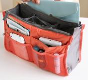 Orange Coral Handbag Insert Organiser Purse Dual Storage Bag In Bag Multi Pockets,