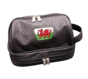 PATRIOT WALES CRESTED LEATHERETTE WASH BAG BY ASBRI GOLF