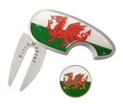 Golf Pitch Mark Repairer with Welsh Flag Ball Marker