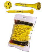 100 YELLOW SMILEY 70mm WOODEN TEES. BY ASBRI GOLF