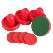 Vktech 4Pcs Air Hockey Table Goalies with 4pcs Puck Felt Pusher Mallet Grip Colour Red