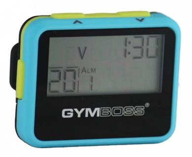 Gymboss Interval Timer and Stopwatch -LIGHT BLUE / YELLOW SOFTCOAT