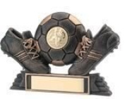 8.9cm BRONZE/GOLD RESIN FOOTBALL TROPHY