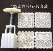 Retal ,  /square Hand Pressing Moon Cake Mould Abs Non-toxic Aplastic 4pcs Motif 125g
