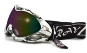 2012 Rayzor Professional UV400 Double Lensed Ski / SnowBoard Goggles, With a Silver Camouflage Frame and an Anti Fog Coated, Purple / Gold Iridium Mirrored Anti-Glare Wide Vision Clarity Lens.