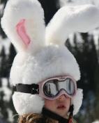 Crazy White Rabbit Ski Helmet Cover With Large Flexable Ears