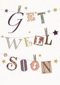 Gold Get Well Soon Greetings Card Stars & Buttons 19cm x 13cm Code 5059C