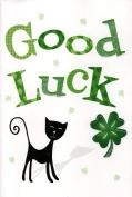 UK Greetings ' Good Luck ' Greeting Card Lucky Black Cat Cards New Flittered Glitter