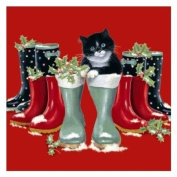 Puss in Boots Black & White Cat with Wellington Wellie Boots Chrissie Snelling 10 pack of small square Christmas Cards