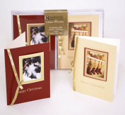 8 Handcrafted Christmas Cards - 2 Designs Holly & Stockings
