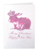Tartan & Zebra Handmade Greeting Card 'Christmas Rabbit'