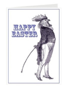 Tartan and Zebra 'Easter rooster' greeting card