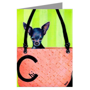 Blue Chihuahua Toy Breed in a Haute Couture Handbag Greeting Card Set