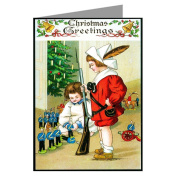 Classic Vintage Christmas Boys Playing with Toy Soldiers Victorian Holiday Greeting Cards Boxed Set
