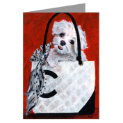 Maltese in a Haute Couture Handbag 6 Large Greeting Cards