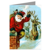 Santa and Reindeer on Your Roof Vintage Victorian Christmas Holiday Greeting Card Boxed Set