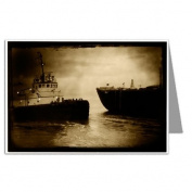 Tug boat & barge early morning San Francisco Greeting Cards