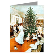 Victorian Christmas Tree Trimming Holiday Party Vintage Greeting Cards Boxed Set