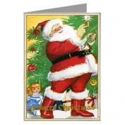 Vintage Santa Lighting a Candle on a Christmas Tree Holiday Greeting Card
