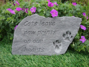Large Cat Stone Memorial Plaque Dogs leave paw prints