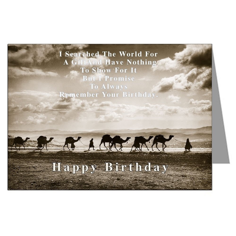 Single Large Vintage Birthday Card Of Camel Train On The Silk Road